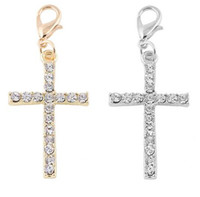 Wholesale Cross Crystal Jewelry Making - 20PCS lot Silver Gold Plated Crystal Cross Floating Pendant Charms Fit For Magnetic Floating Locket Jewelry Making