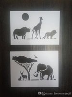 white painted card - Reusable stencils kit of lovely animals Masking template For Scrapbooking cardmaking painting DIY cards wall and more