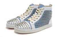 los zapatos claveteados liberan el envío al por mayor-Envío gratis nuevos hombres zapatillas de cuero genuino y Denim high top spikes remaches de moda remaches Mujer rojo zapatillas populares zapatos