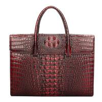 крокодиловый портфель оптовых-Wholesale- mans crocodile briefcase Genuine Leather Messenger bag  Fashion Laptop Bags for 14 inch handbag