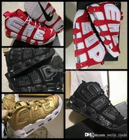 Wholesale Eva Balls - 2017 Air Sup Uptempo Scottie Pippen Men Basketball Shoes Black Red Athletic Mens Sneakers Trainers Basket ball Sports Shoes US 7-13