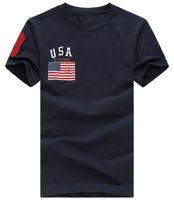 comprar camisas clásicas al por mayor-Hot Buy Classic Men Fashion USA Estampado de la bandera Camiseta informal Con Big Horse Summer Fitness Camiseta para hombre TALLA S-XXL Camisetas para hombre Blanco