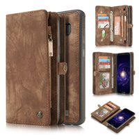 Wholesale Brown Trifold - Mulitunctional All-In-One Trifold Case Detachable Premium Geniune Leather Case Wallet Case For iPhone 7 6 6s plus Samsung S8 S7 plus OPPBAG