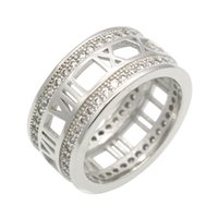 Wholesale Silver Sterling Roman - Fashion 925 Sterling Silver Roman Numerals Hollow Double Row CZ Wedding Ring