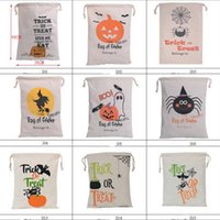 Wholesale Halloween Gift Bags Hallowmas Canvas Gifts Sack Bags Cotton Drawstring Bag Pumpkin Devil Spider Printing Styles Newest YW38