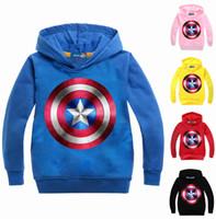 kids cartoon clothing al por mayor-Sudaderas con capucha y sudaderas de niños de moda American Captain Kids Clothes Avengers camiseta con mangas largas con capucha de dibujos animados de impresión