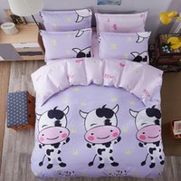 bande dessinée unique achat en gros de-Cute Cow Bedding Sets Ensemble de couette de bande dessinée Single Double Queen King Size 4pcs Literie Duvet Cover Sheet Set Bedlinen Prix de gros