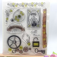 Wholesale Card Making Designs - Wholesale- Creative Gear Designs Transparent Clear Stamp DIY Silicone Seals Scrapbooking Card Making Photo Album Decoration Accessories
