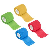 Wholesale Wholesale Fabric Tape - Wholesale- Non Woven Fabric Self-Adhering Bandage Wraps Elastic Adhesive First Aid Tape Stretch 5cm free shipping