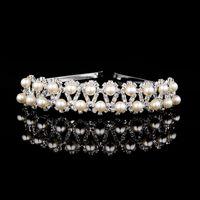 Wholesale Plastic Bow Charms - HOT Sale Handmade Gold Simulated Pearl Wedding Tiara Hair Accessory Crystal Charm Bridal Headband Stunning Party Women Jewelry Headbands