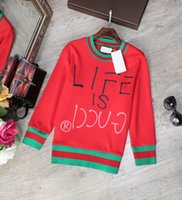 Wholesale Brand Same Style Sweaters Red Pullover Long Sleeve Crew Neck Cotton Polyester Letter Women Clothing