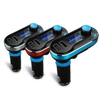 kit de coche bluetooth móvil al por mayor-2016 Nuevo Bluetooth Car FM transmisor 2.1A Dual USB Car Cargador BT66 MP3 Player Car Kit para teléfono móvil de DHL libre