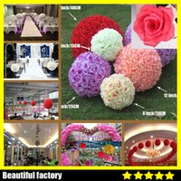 Wholesale Hanging Flowers For Parties - Elegant White Ivory Artificial Rose Silk Flower Ball Hanging Kissing Balls 30cm 12 Inch Ball For Wedding Party Decoration Supplies 99029-3