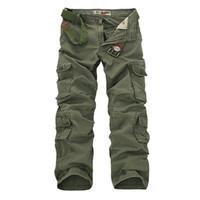 ingrosso baggy khaki-All'ingrosso-verde militare pantaloni cargo da uomo kaki nero sciolto pantaloni tattici multi tasche in cotone pantaloni larghi uomini tuta esterna uomo 28-44