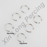 Wholesale Hangers Stainless - 18G 20G Stainless Steel Nose Hoop Fake Septum Piercing Ring Non Piercing Faux Septum Clicker Hanger Clip Body Jewelry