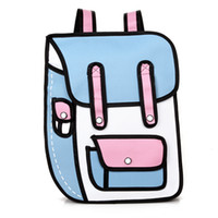 Wholesale cloth backpacks resale online - Korean comic student package second yuan backpack D backpack card ventilation computer bag Oxford cloth bag personality DHL