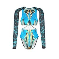 Wholesale Sexy Cheap One Piece Swimsuits - Newest Design 2017 Summer Blue Printed Swimwear One Piece Sexy Cut Out Details Long Sleeve Swimsuits Cheap Wholesale Beachwear Bathingsuits