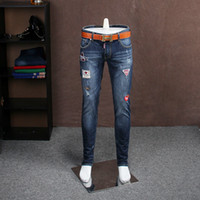 Wholesale Type Jeans Pant - Wholesale- European station autumn and winter section Slim type Korean jeans male embroidery jeans male Slim pants male tide do234