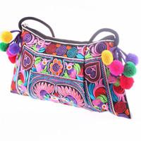 Wholesale Handmade Fabric Handbags - Wholesale-2016 Hot sale Embroidered bags National trend handmade fabric embroidery one shoulder cross-body women messenger Clutch handbag