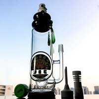 Wholesale Amber Bottles - 2017 Hot Sale Mouthpiece Glass Bottle Bongs Percolator Oil Rigs Green Amber Teardrop Dabbing Pipes 90°Quartz Banger 14.5 Male Joint DGC1205