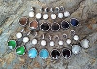 kristall pflastern perlen ohrringe großhandel-Opal Kristall Ohrstecker, gepflasterte Strass Perlen Wassertropfen Dangle Ohrring, Perle handgemachten Schmuck ER166