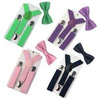 Wholesale Bowtie Suspenders - Wholesale-2PCS 1-8 Year Hot Kid Suspenders Baby Bowtie Bow Tie Adjustable Elastic Wedding Matching Colors Boys Ties GHHtr0008
