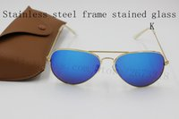 Wholesale Kinds Mirrors - Sunglasses brand fashion designer to create a woman and men's fashion glasses 14 kinds of color glass brown box free shipping