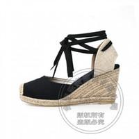 Wholesale Toe Flatform - 2017 Denim High-End Straw Wedge Plain Closed Mouth Shoes High Heels Flatform Luxury Women Fashion Shoes Short Canvas Pumps