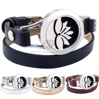 Wholesale Miao Bangles - With Magnet Lotus Design 25mm Black Genuine Leather Stainless Steel Bangle Essential Oils Diffuser Locket Leather Bracelet