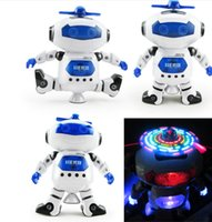 Wholesale Electronics Dance - 2017 Intelligent 360 Rotating Space Dancing Robot Electronic Infrared Musical Walking Lighten Multi-function Smart Toys for Kid Robot toys
