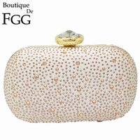 Wholesale Hot Fix Crystal Shapes - 3 Colors Women's Fashion Large Stone Hot Fixed Champagne Crystal Evening Bags Wedding Bridal White Metal Clutches Handbags Purse