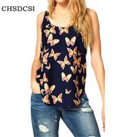 Wholesale europe woman s ladies blouses - Arrival Europe Blouses Summer Women Shirt Butterfly Print Chiffon Female Round Neck Vest Lady Sleeveless Blouse Plus Size S085
