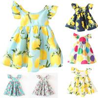 eski çocuklar toptan satış-Yeni INS Kızlar Çiçek Elbise Prenses Pembe Plaj Backless Giyim Sevimli Çocuklar Bebek Yaz Vintage Çiçek Elbise 12 Renk Ücretsiz Kargo WX-D01
