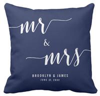 cojines de sofá azul marino al por mayor-Funda de Almohadas, Personalizada para el Señor y la Sra. Navy Blue Square Wedding Cojín y Cojines para Coche,