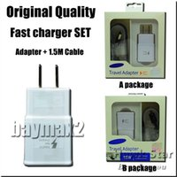 Wholesale Original Quality Fast Charger Set Adapter USB cable in charging Wall Plug set UK US EU For S6 S7 Note With retai box