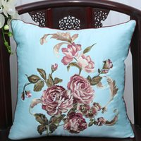 Wholesale Set Covers For Sofa Cushions - Latest Fine Embroidery Cushion Pillow Cover for Sofa Seat Chair Lumbar Back Cushion Sets European style Satin Cloth Pillow Case