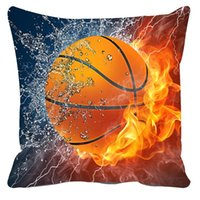 Wholesale Basketball Sofa - Plush Cushion Cover 3D Sofa Throw Pillows Basketball Pattern Decorative pillow case covers Square 45*45,50*75cm funda cojin home decor
