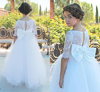 Wholesale Beautiful Girl Skirt Long - Half Long Sleeve Beautiful Flower Girl Dresses for Wedding 2017 Vintage Lace Princess Tulle Skirt Kids Party Gowns with Big Bow Custom