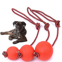 Wholesale Toys Small Rubber Balls - Red Color Ball With Training Leash Pet Toy Dog Chew Elastic Ball Toys Mini Rubber Ball for Small Large Pet 3 Size 10PCS