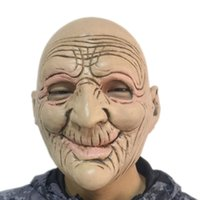 Wholesale smile face mask - Halloween Funny Smiling Old Man Latex Mask Realistic Old People Full Face Rubber Masks Masquerade Cosplay Props Adults Size