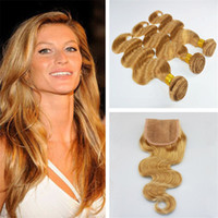Strawberry Blonde Indian Virgin Hair Body Wave 3 paquetes con 4 * 4 Lace closure # 27 Honey Blonde Hair humano teje con cierre superior