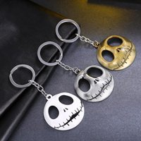 Bijoux En Chaîne Pour Hommes Pas Cher-Skeleton Movie Key Chains Jewelry The Nightmare Before Christmas Pumpkin King Santa Jack Keychain Porte-clés Skull Head Skellington Men Key Chain
