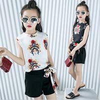 Wholesale Tutu Fashion China - 2 Pcs Set 2017 Children Girls Two Piece T-shirt + Short Pant Kids Fashion Girl's Sleeveless China Style Outfits 5 Sets Lot B