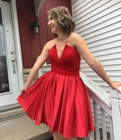 Wholesale Red Homecoming Dresses Strapless - 2018 short a line ruched red satin homecoming party dresses strapless little v neck zipper back maid of honor wedding guest gowns