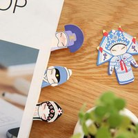 Wholesale Pic Paper - 7 Pics lot Chinese Traditional Classical Style Peking Beijing Opera Paper Clips Bookmark Cute School Supplies For Office Gifts ZA2950