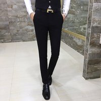 Wholesale Korea Hot Pants - Wholesale- New Fashion Hot Sale Brand 2017 men's casual high quality solid fit suit trousers male slim korea style easy care suit pants