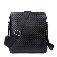 Wholesale Leather Messenger Bag Cheap - New Men Messenger Bags Leather Shoulder Bag Cheap Men Bag Brand Fashion Crocodile Pattern Bag Casual Plaid Briefcase 9921