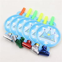 Wholesale Parties Whistle - Wholesale-6pcs blowouts whistles blue prince birthday party decoration boys favors and gifts wedding supplies