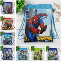 Wholesale Cartoon Black Spider - 2017 Boys backpack school bag birthday gift mochila drawstring bag for kids cartoon Spider-Man non-woven fabric backpack mochila