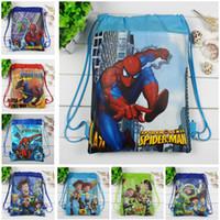 Wholesale Wholesale Character Backpacks For Kids - 2017 Boys backpack school bag birthday gift mochila drawstring bag for kids cartoon Spider-Man non-woven fabric backpack mochila